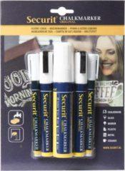 Securit 5x Witte vloeibare krijtstiften in 3 verschillende maten 1-2 mm/2-6 mm/7-15 mm - Krijtstiften/hobby artikelen/kantoor benodigheden