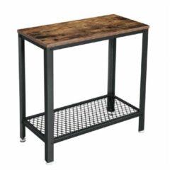 Home Living Sidetable haltafel hout met metaal robuust en industrieel 60 x 30 x 60 cm wandtafel xl