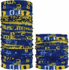 Fako Fashion® - Microfiber Faceshield - Bandana - Nekwarmer - Sjaal - Text Blauw/Geel