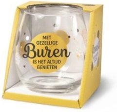 Gouden Miko Wijn- waterglas - Met gezellige buren is het altijd genieten