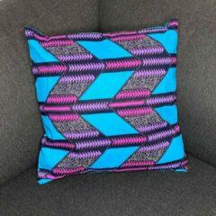 Blauwe Afabs Afrikaans kussen | Roze triangles - Sierkussen 45x45 - 100% Katoen | Sierkussens 45x45 Kussenhoes | Binnenkussen 45 x 45 | Tribal kussen | African pillow