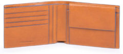 Piquadro Blue Square Mens Wallet with Coin Pocket tabacco Heren portemonnee