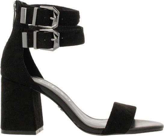 Afbeelding van Supertrash Ayla sandalen met hak zwart - Maat 36