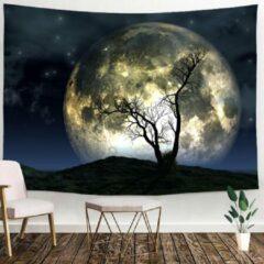 Blauwe Ulticool - Natuur Volle Maan Nacht Boom - Wandkleed - 200x150 cm - Groot wandtapijt - Poster