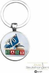 Zilveren MC Living Sleutelhanger Glas - Baby
