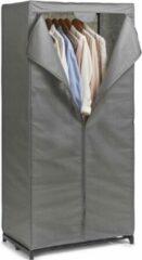 Merkloos / Sans marque 3x stuks mobiele opvouwbare kledingkasten met grijze hoes 160 cm - Zeller - Kleding opbergers/opbergen - Kledingkasten - Camping/zolder kasten - Stoffen kasten opvouwbaar