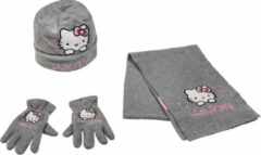 Hello Kitty winterset - Handschoenen, Muts en Sjaal - Donkergrijs - 54 cm