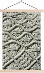 TextilePosters Macramé kussensloop van dichtbij weergegeven textielposter latten blank 60x90 cm - Foto print op schoolplaat (wanddecoratie woonkamer/slaapkamer)