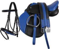 Blauwe QHP Complete Zadelset Pony