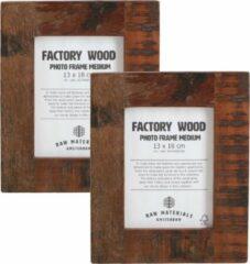 Bruine Raw Materials Factory Fotolijst - Set van 2 - 23x28 cm - Gerecycled hout