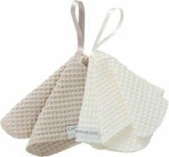 Zandkleurige Cottonbaby Speendoekje wafel per set van 2 zand/room