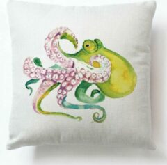 Roze River of Things Kussenhoes Octopus. Groene Octopus kussenhoes/ kussensloop. Sierkussenhoes zee thema 45x45