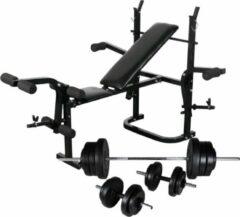 Zwarte VidaXL Gewichtenbank met gewichtenrek en halterset 60,5 kg