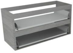 Sub 16 wastafelonderkast met 2 lades zonder fronten 100 x 52 cm, essen grijs