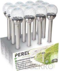 Grijze Velleman Tuinlamp Op Zonne-Energie Met Sokkel In Roestvrij Staal - 12St In Display