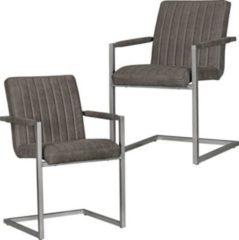 Wohnling 2er Set Esszimmerstühle MAGNUS Retro Design Anthrazit Mikrovelour Vintage Küchenstühle 55 x 86 x 50 cm mit Armlehnen Freischwinger Wildlede