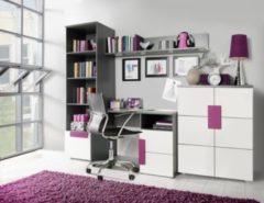 Bürokombination weiss/ violett/ grau FORTE MÖBEL Libelle