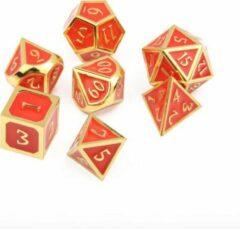 Top Dice™ - 7 Metalen Dobbelstenen Dungeons & Dragons – Goud met Rood – Polydice set TRPG