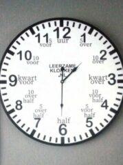 Leerzameklokken.nl Leer klokkijken-leerzame klok- wandklok 60 cm wit