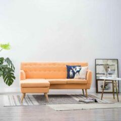 Bankstel 3-zits Stof Oranje L Vorm met Longchair (Incl FLEECE deken) - Loungebank - Woonkamer bank - Sofa - Driezitsbank - Zitbank
