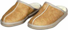 Van Buren Bolsward BV Schapenvacht pantoffels - Lamsvacht heren slippers - Camel - Maat 42