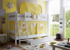 Etagenbett KENNY G Schrägleiter, Buche massiv, weiß lackiert, gelb-weiß, 90 x 200 cm
