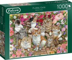 Blauwe Jumbo Falcon puzzel Floral Cats - Legpuzzel - 1000 stukjes