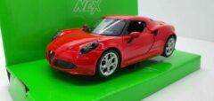 Welly Nex Alfa Romeo 4C Rood Welly 1:24