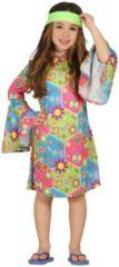 FIESTAS GUIRCA, S.L. - Hippie kostuum met kleurrijke symbolen voor meisjes - 140/146 (10-12 jaar) - Kinderkostuums