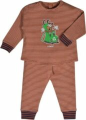 Woody pyjama baby meisjes - roest-beige gestreept - geit - 202-3-PZG-Z/953 - maat 80