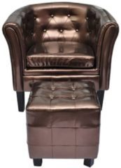 VidaXL - Chesterfield - Fauteuil - Met arm - Brons - Met Hocker