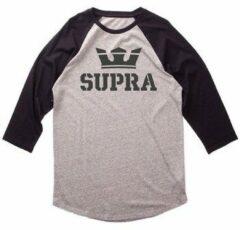 Grijze T-Shirt Lange Mouw Supra