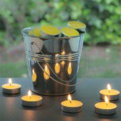 Gele Bigbuy Citronella Kaarsen met Decoratieve Emmer - 50 Kaarsen