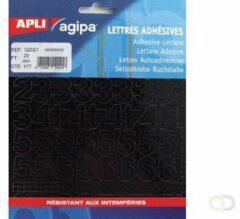 Zwarte Agipa etiketten cijfers en letters letterhoogte 20 mm, 177 cijfers