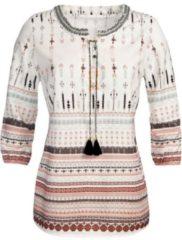 Bruine Classic Inspirationen blouse met randdessin