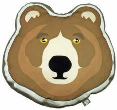 The Zoo Sierkussen Brown Bear Junior 40 X 40 Cm Textiel Bruin