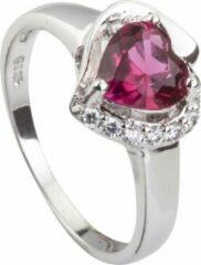 Brigada - ring met roze hartjes zirkonia steen - 925 sterling zilver - maat 18,5