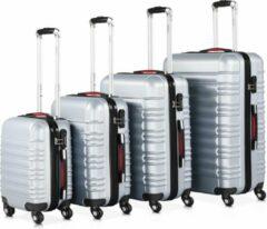 Monzana Kofferset van 4 stuks. S/M/L/XL Basislijn zilver