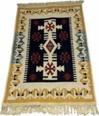 Sunar Home Kelim Vloerkleed Kibyra - Kelim kleed - Kelim tapijt - Oosterse Vloerkleed - 60x90 cm - Loper - Bankkleed - Plaid - Met kleine cadeau