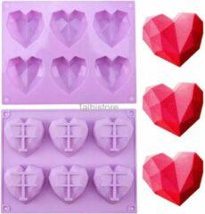 Paarse Talbistore.nl Siliconen mal harten - chocolade - diamanten - 3D heart - bakvorm - bonbons - mold - bakvormen - Eid mubarak - Suikerfeest