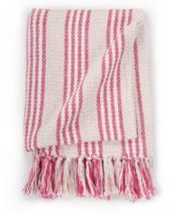 VidaXL Plaid strepen 125x150 cm katoen roze en wit