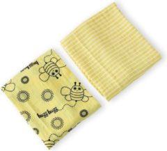 Gele Milk & Moo Milk&Moo Swaddle - Wikkeldeken Baby - Omslagdoek - Hydrofiele Doeken - Inbakerdeken - Luierdoek - Mousseline - 2 Stuks