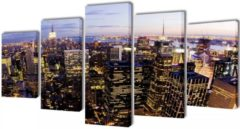 VidaXL Canvas muurdruk set Horizon New York skyline 100 x 50 cm