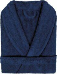 Marineblauwe Pure Duplex Badjas Badstof Uni Pure Royal met Shawlkraag Donker Blauw Maat S