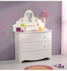 Kommode Sideboard mit Aufsatz 'Alice 8' Lisenenoptik Weiß Parisot Weiß