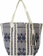 Blauwe Esprit shopper Paolo - strandtas - geweven motief - 100% katoen