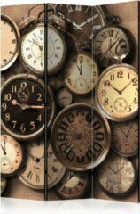 Kamerscherm - Scheidingswand - Vouwscherm - Old Clocks [Room Dividers] 135x172 - Artgeist Vouwscherm