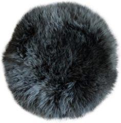 Donkergrijze Dutchskins Stoelkussen schapenvacht rond antraciet - zitkussen vacht - stoelpad schapenvacht
