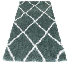 Veercarpets Vloerkleed Jeffie - 80 x 150 cm - groen - Loper - Hoogpolig - Berber