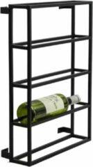 Vtw Living Industrieel Wijn Wandrek Van Metaal - Wandrek - Wijnrek - Wandplank - Wijnkelder - Wijnrek Voor Aan De Muur - Restaurant - Wijn - Wijnen - Wijnflessen Rek - Rek - Wijnfles Rek - Metaal - Industrieel - Zwart - 50 cm hoog